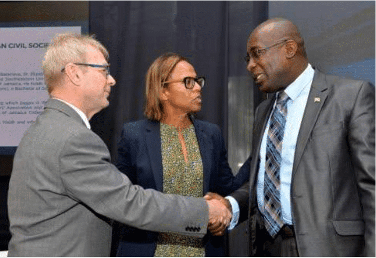 Arvo Ott, Inter-American Development Bank Representative for Jamaica and Caribbean Country Department General Manager Therese Turner, Jamaican Education, Youth and Information Minister Senator Ruel Reid,